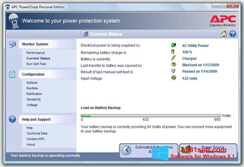 Screenshot PowerChute Personal Edition for Windows 8.1