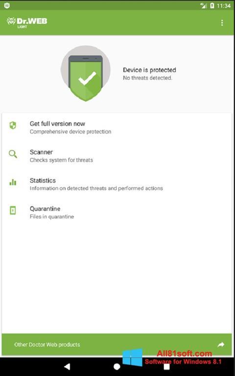 Screenshot Dr.Web Light for Windows 8.1