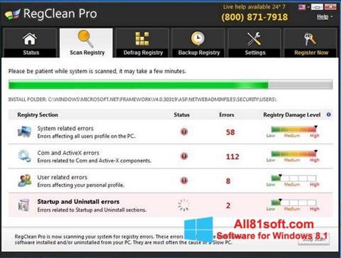 Screenshot RegClean Pro for Windows 8.1