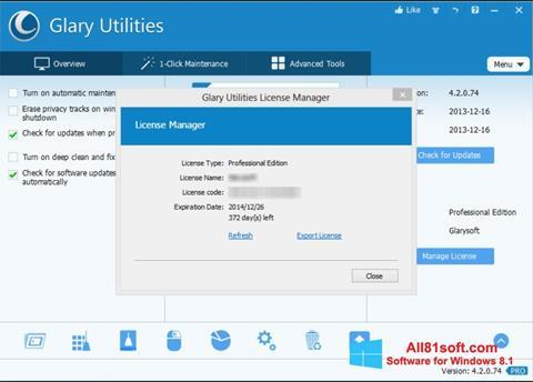 Screenshot Glary Utilities for Windows 8.1