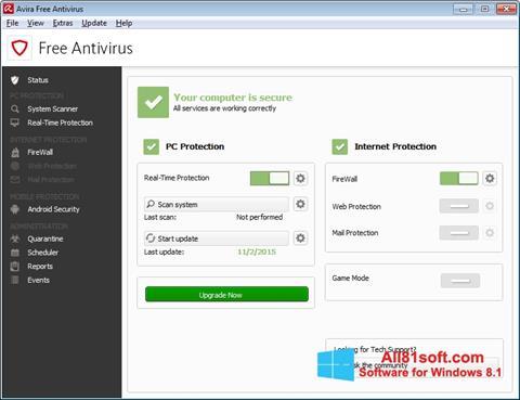Screenshot Avira Free Antivirus for Windows 8.1
