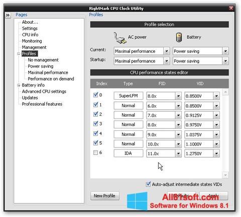 Screenshot RMClock for Windows 8.1