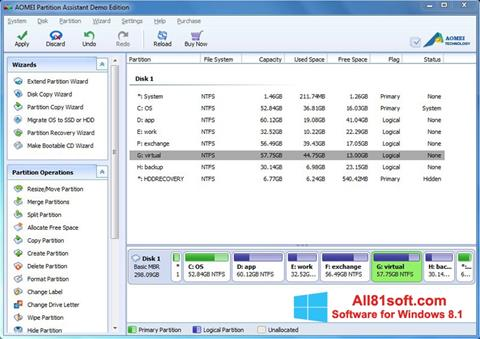 Screenshot AOMEI Partition Assistant for Windows 8.1