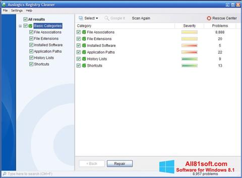 Screenshot Auslogics Registry Cleaner for Windows 8.1
