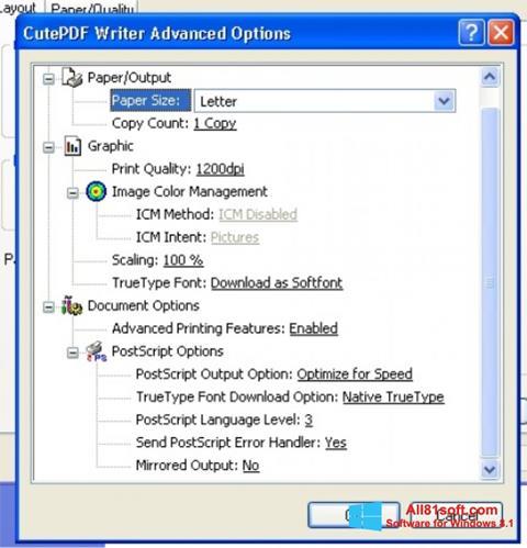 Screenshot CutePDF Writer for Windows 8.1