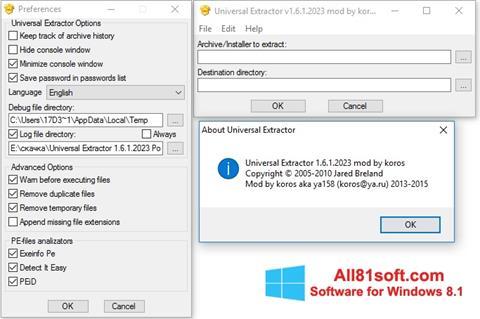 Screenshot Universal Extractor for Windows 8.1