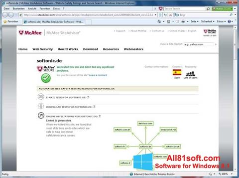 Screenshot McAfee SiteAdvisor for Windows 8.1