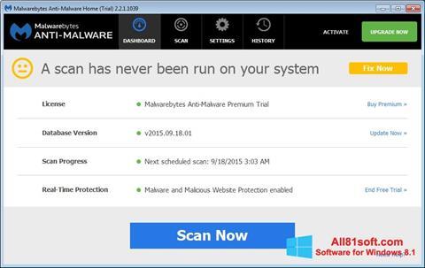 Screenshot Malwarebytes Anti-Malware Free for Windows 8.1