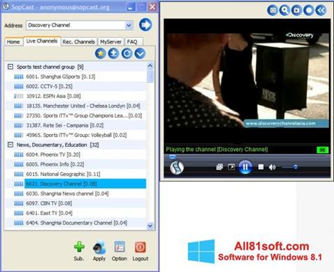 Screenshot SopCast for Windows 8.1