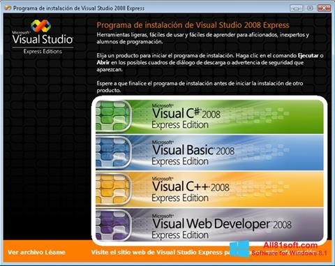 Screenshot Microsoft Visual Studio for Windows 8.1