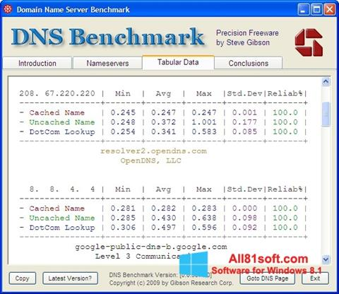 Screenshot DNS Benchmark for Windows 8.1