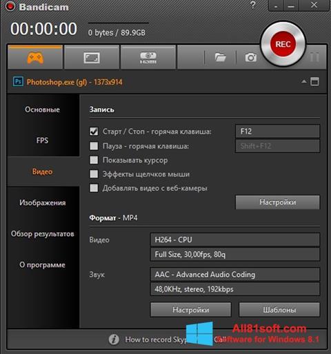 Screenshot Bandicam for Windows 8.1