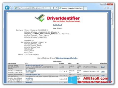 Screenshot Driver Identifier for Windows 8.1