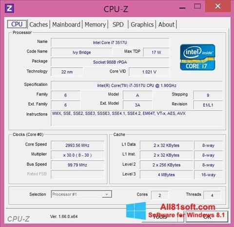 Screenshot CPU-Z for Windows 8.1