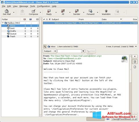 Screenshot Claws Mail for Windows 8.1