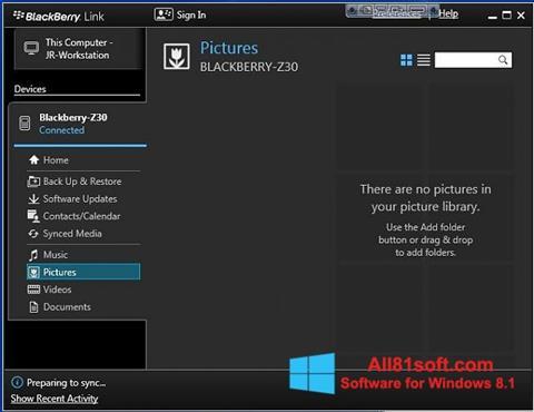 Screenshot BlackBerry Link for Windows 8.1