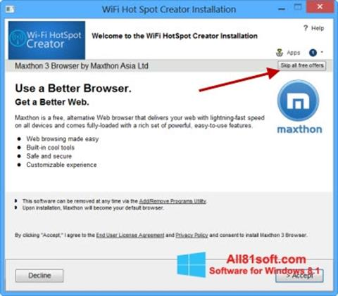 Screenshot Wi-Fi HotSpot Creator for Windows 8.1