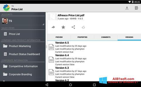 Screenshot Alfresco for Windows 8.1