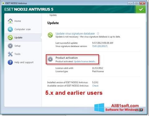 Screenshot ESET NOD32 for Windows 8.1