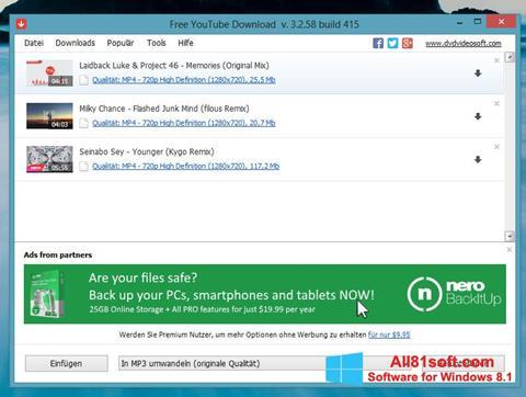 Screenshot Free YouTube Download for Windows 8.1