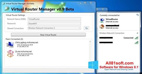 Screenshot Virtual Router Manager for Windows 8.1