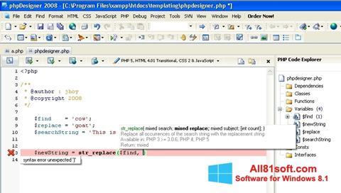 Screenshot phpDesigner for Windows 8.1