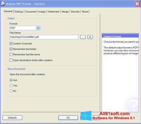 Screenshot BullZip PDF Printer for Windows 8.1