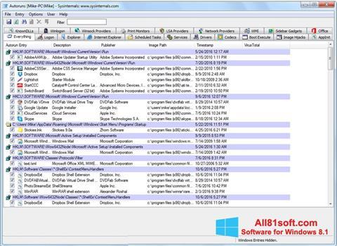 Screenshot AutoRuns for Windows 8.1