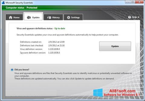 Screenshot Microsoft Security Essentials for Windows 8.1