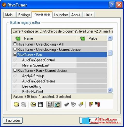 Screenshot RivaTuner for Windows 8.1