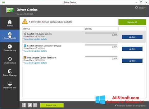 Screenshot Driver Genius for Windows 8.1