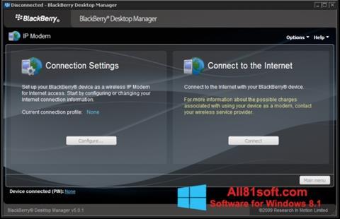 Screenshot BlackBerry Desktop Manager for Windows 8.1