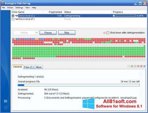 Screenshot Auslogics Disk Defrag for Windows 8.1