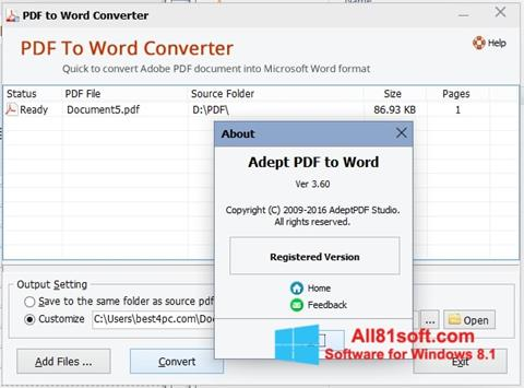 Screenshot PDF to Word Converter for Windows 8.1
