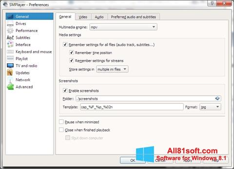 Screenshot SMPlayer for Windows 8.1