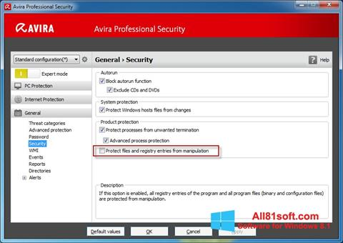 Screenshot Avira Professional Security for Windows 8.1