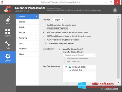 Screenshot CCleaner for Windows 8.1