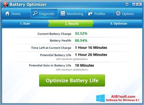 Screenshot Battery Optimizer for Windows 8.1