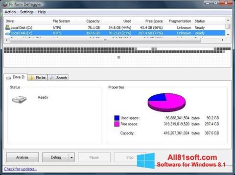 Screenshot Defraggler for Windows 8.1