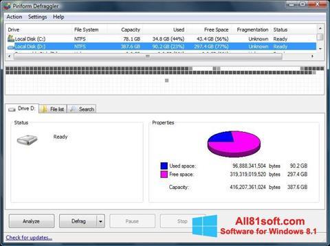 Screenshot Defraggler for Windows 8.1