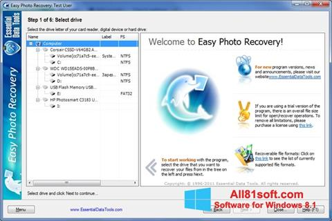 Screenshot Easy Photo Recovery for Windows 8.1