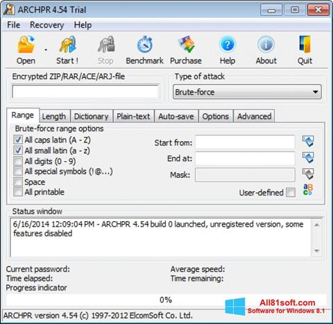 Screenshot Advanced Archive Password Recovery for Windows 8.1