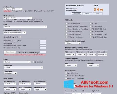 Screenshot Power Supply Calculator for Windows 8.1