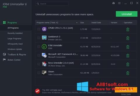 Screenshot IObit Uninstaller for Windows 8.1