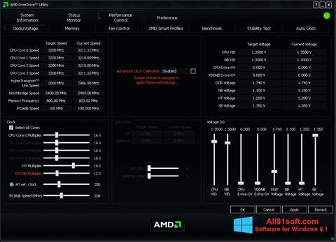 Screenshot AMD Overdrive for Windows 8.1