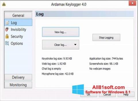 Screenshot Ardamax Keylogger for Windows 8.1